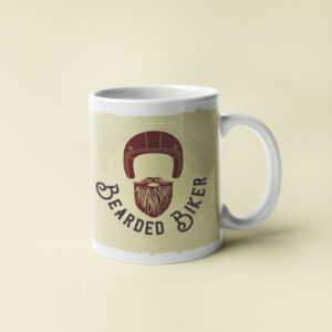 Bearded Biker cafe style coffee mugs
