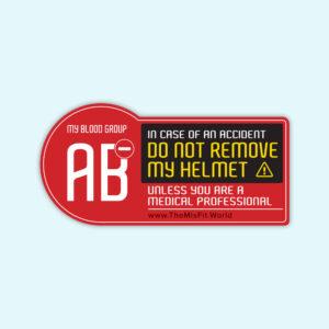 blood group sticker for biker AB negative
