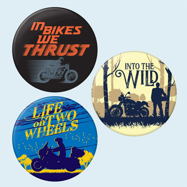 Adventure Starts here biker badges