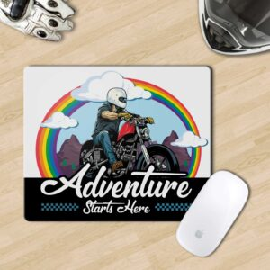 Adventure starts here Mouse Pad for biker