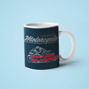 motorbike travel mug Drop-a-Gear-and-Disappear motorcycle coffee mug